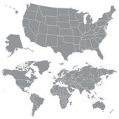 Vector USA Map and World Map — Stock Photo