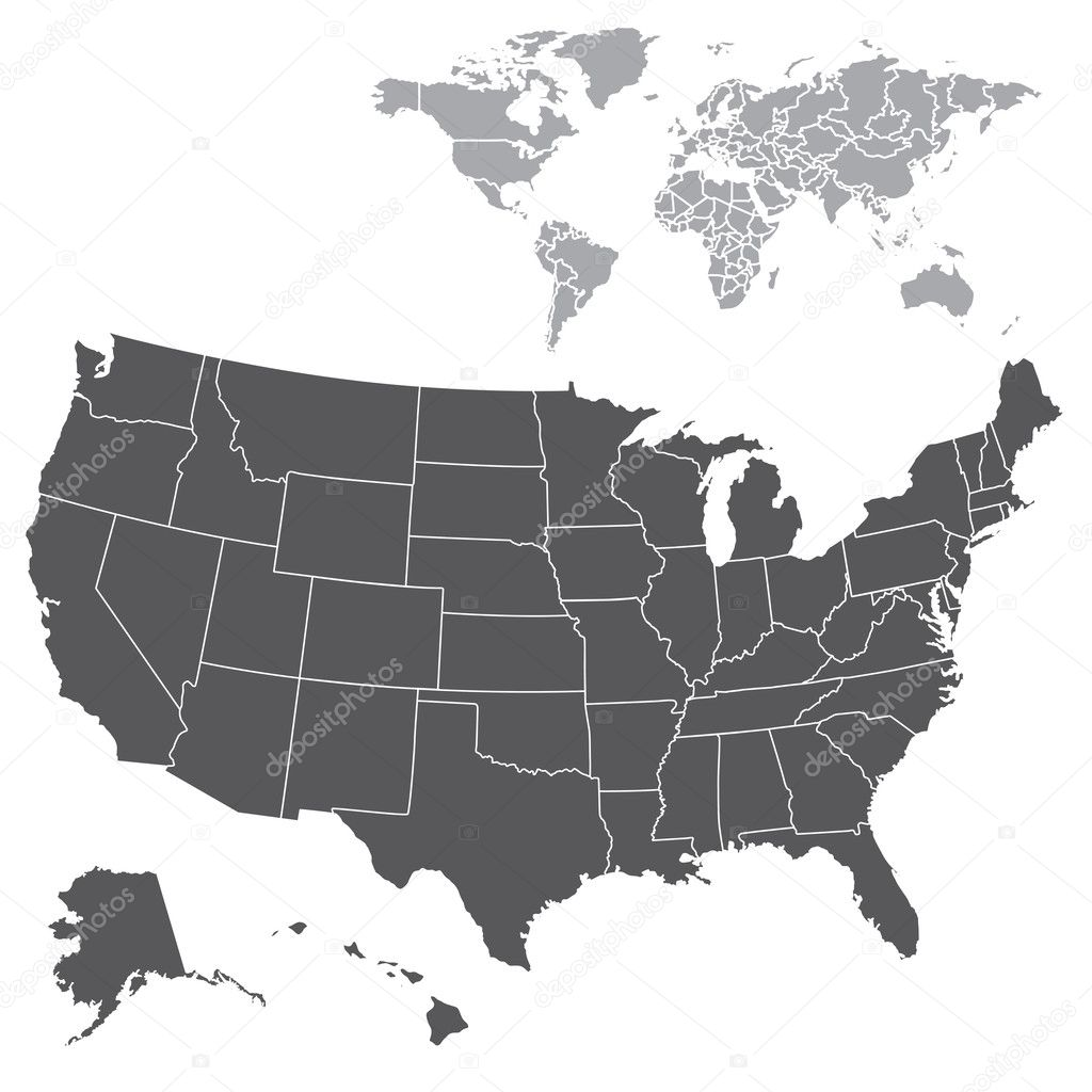 Set of vector USA and World maps. Easy to edit! — Stok fotoğraf #3860907