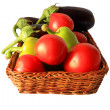 Fresh vegetables in the wicker - Stock Photo