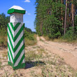 Column near road in the forest — Stock Photo