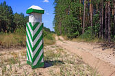 Column near road in the forest — 图库照片