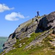 Foto Stock: Man stay on mountain top