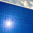 Sun reflection on facade modern building — Stock Photo