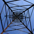Stock Photo: Up view inhigh-tension transmission line