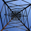 Up view inhigh-tension transmission line — Stock Photo