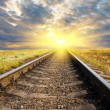 Stock Photo: Railway to sunset