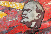 Lenin mosaic on monument's wall — Stock Photo