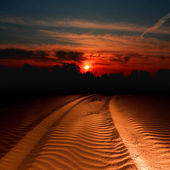 Trail in sand lighted on sunset — Stock Photo