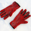 Red gloves on snow — Stock Photo