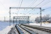 Railway at winter — Stock Photo