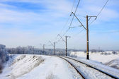 Railway in winter — Stock Photo