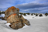 Rock in winter mountains — Stock Photo