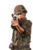 Military woman aiming — Stock Photo