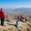 Hikers watch terrain — Stock Photo #2873508