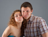 Couple is building a grimace — Stock Photo