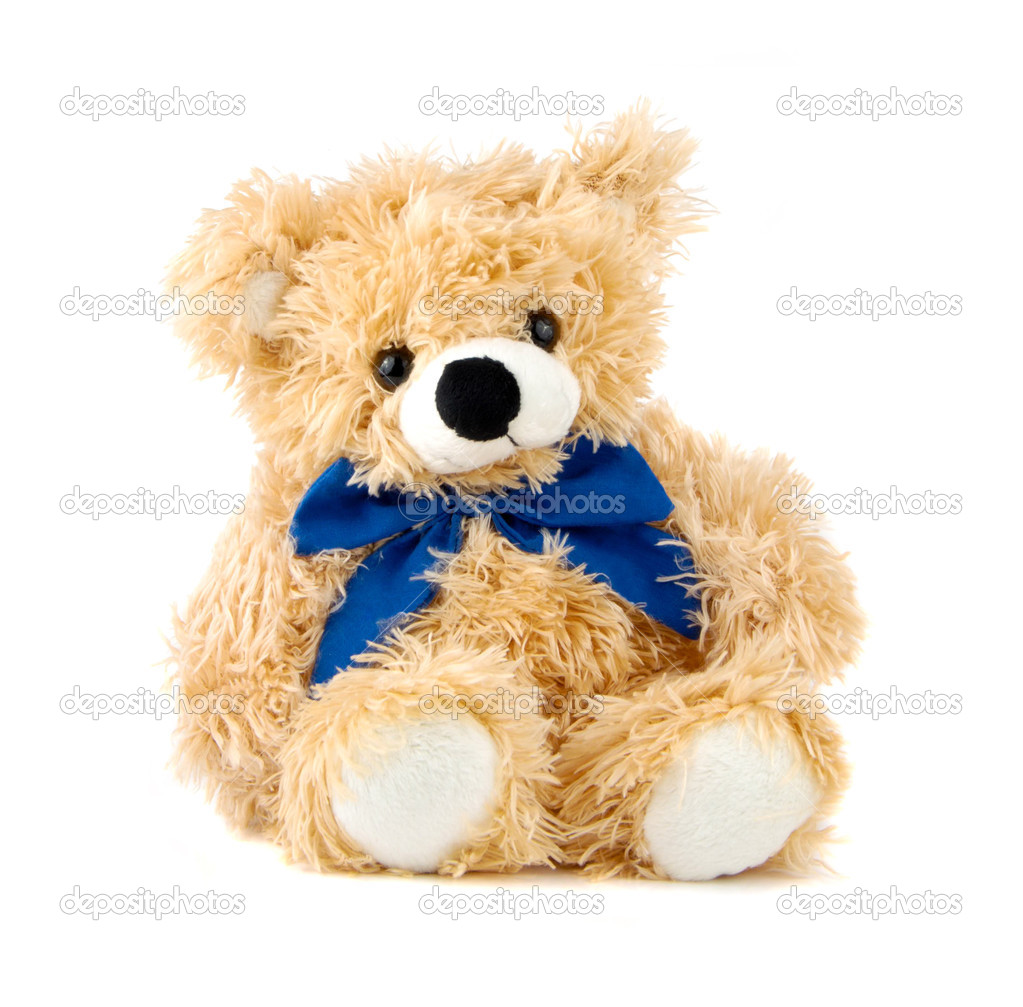 Teddy Bear toy with blue bow isolated over white — Stock Photo #3188441