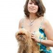 Young woman with dog — Stock Photo #3190368