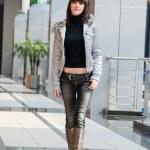 Thin girl in shopping mall — Stock Photo
