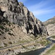 Mountain Range and River - Wyoming - Stok fotoğraf
