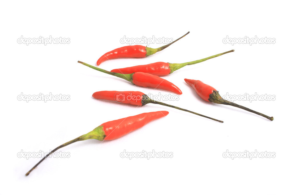 Little red peppers on a white background. — Stock Photo #2841134