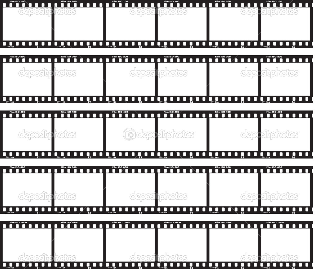 Traditional film strip with ISO label and numbers at side.  Grafika wektorowa #2918994