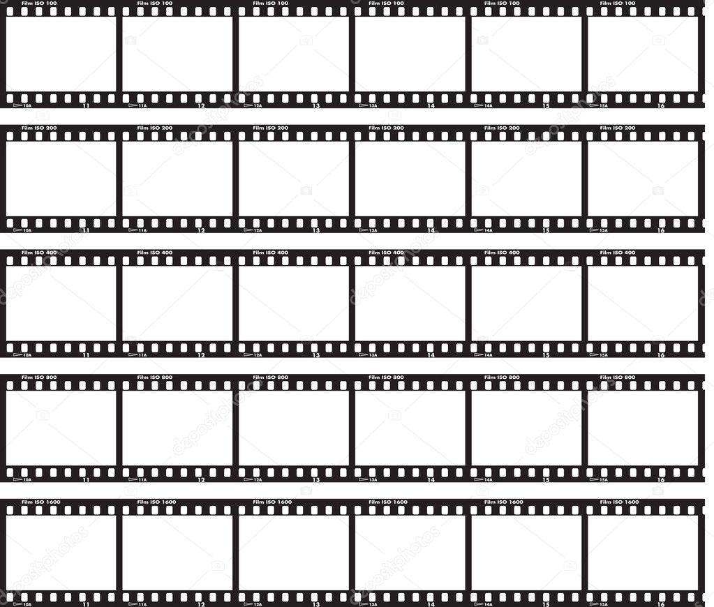 Traditional film strip with ISO label and numbers at side. — Vektorgrafik #2918994