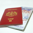 Malaysia passport and Notes — Stock Photo