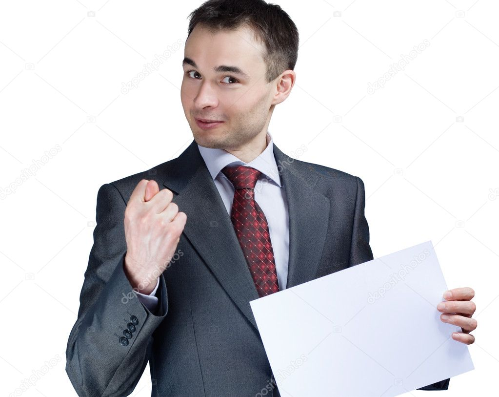 Holding a blank paper businessman say no — Stock Photo #3323075