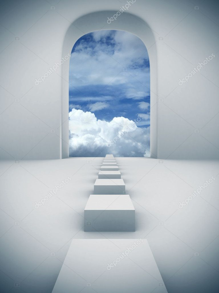 A door with scenery of sky and cloud 3d illustration — Stock Photo #3167306