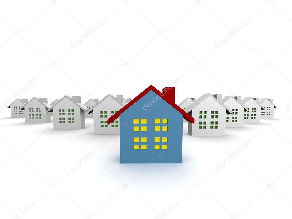 Blue outstanding 3d houses isolated  Stock Photo #3230119