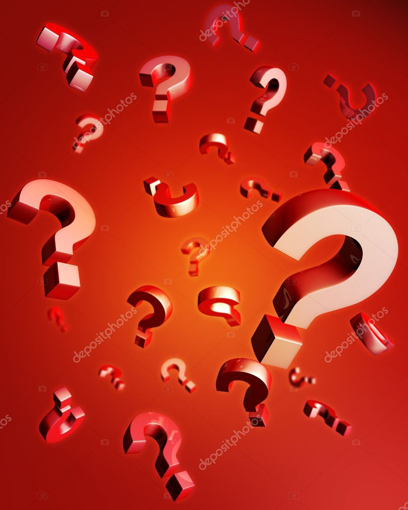 Question mark falling with reflection 3d illustration  Stock Photo #3427065