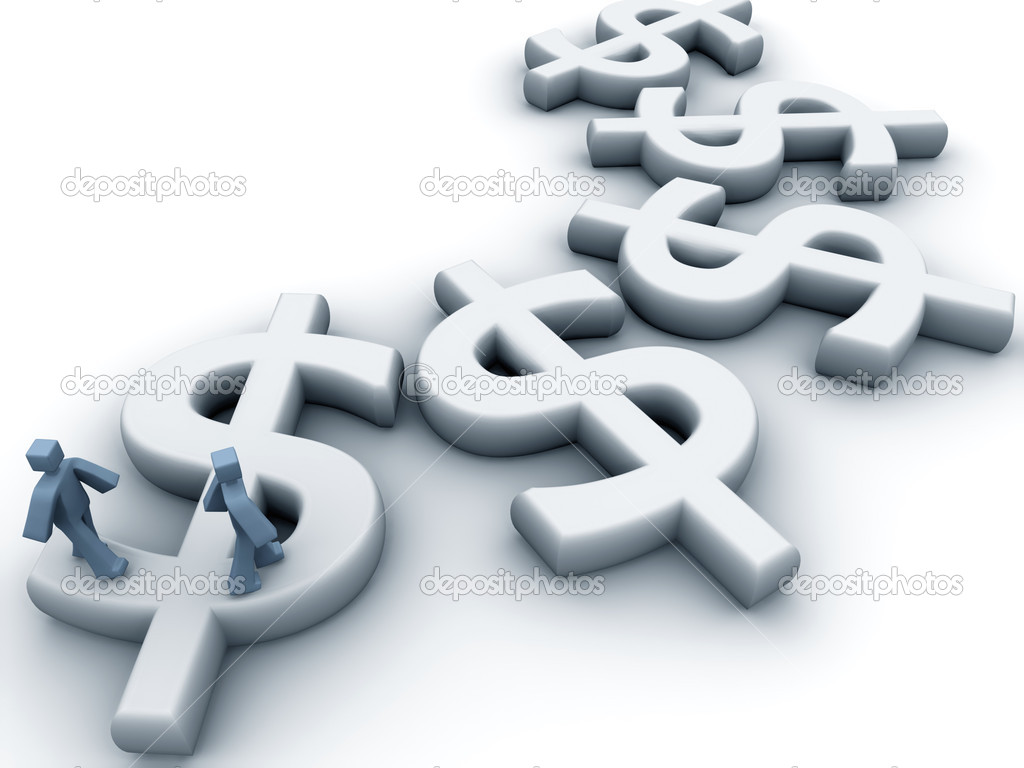 Two businessman walking on the dollar sign 3d illustration — Stock Photo #3531013
