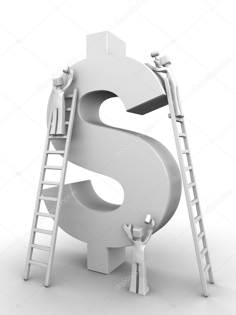 Make money concept three team member making a dollar symbol 3d illustration — Stock Photo #3531121