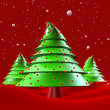 Stock Photo: Christmas trees with snow falling greeting 3d illustration