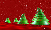 Christmas trees with snow falling greeting — Stock Photo