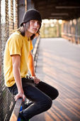 Portrait of young male in urban area — Stock Photo