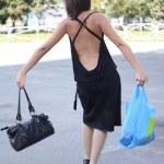 çanta ile kız — Stok fotoğraf