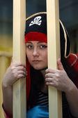 Pirate behind bars — Stock Photo
