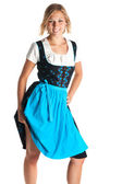 Young woman standing with a bavarian dress — Stock Photo