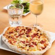 Federweisser and tarte flambee — Stock Photo