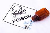 Blå piller och gift varning — Stockfoto