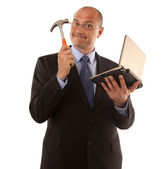 Business fixing computer the old way — Stock Photo