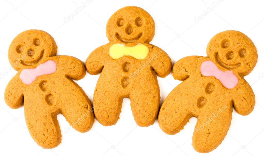 Three gingerbread figures on a white background  Stock Photo #3902034