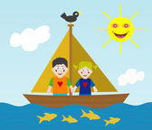 Kids sailing adventure — Stock Vector