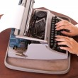 Vintage typewriter with long-nail female fingers — Stock Photo #3769929