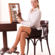 Serious young model counting with abacus — Stock Photo #3769946