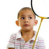 Boy with badminton racquet — Stock Photo