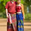 Caucasian and asian with thai clothes — Stock Photo