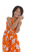 Cute girl talking on cellular phone — Stock Photo