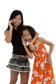Mother and daughter on the phone — Stock Photo